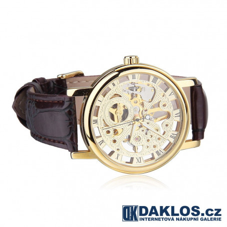 807906cf48f Luxusní hodinky WINNER s průhledným ciferníkem - zlaté - automatické ...