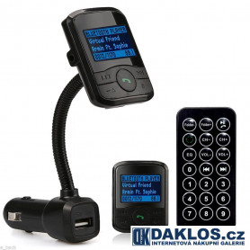 Bluetooth FM transmitter / Nabíječka s LCD displejem do auta / MP3 / 12 V s dálkovým ovladačem / Hands-free