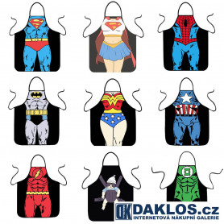 Kuchyňská zástěra - super hrdinové - Superman Batman Wonder Woman Spider Man Iron man