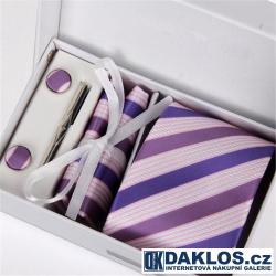Luxusní set fialovo modrý - Kravata, kapesníček do saka, manžetové knoflíčky, kravatová spona v dárkovém balení