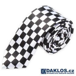 Luxusní kravata kostkovaná bílo černá - závodní vlajka