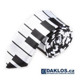 Luxusní úzká kravata bílo černá - klávesy