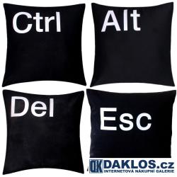 Ctrl Alt Del Esc potah na polštář 100% bavlna - 40 cm x 40 cm - černé