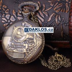 Kapesní přívěskové hodinky - parní lokomotiva / vlak