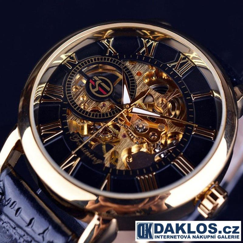 ... Luxusní hodinky s průhledným ciferníkem s římskými číslicemi a  černozlatým pozadím - automatické ... b5e7e91279c