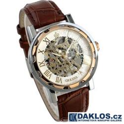Luxusní hodinky s průhledným ciferníkem a římskými číslicemi - automatické
