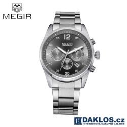 Luxusní hodinky MEGIR ve stříbrno černém provedení s kovovým páskem