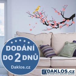 Nálepka na stěnu - strom s růžovými květy a ptáčkem