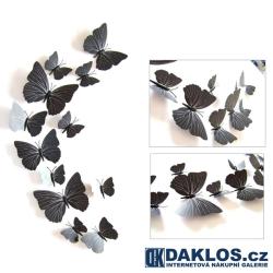 3D nálepka / samolepka na stěnu - černí motýli