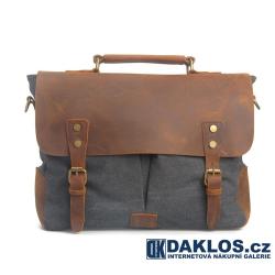 Polokožená pánská tmavě modrá taška / messenger / brašna z plátna a pravé kůže