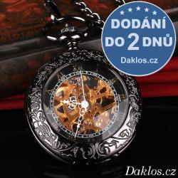 Luxusní kapesní hodinky s průhledným ciferníkem a římskými číslicemi - natahovací