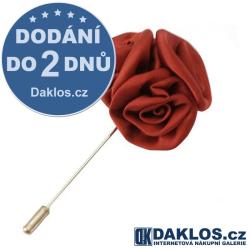 Společenská jehlice / brož do saka - červená růže