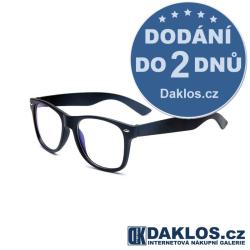 Černé stylové RETRO brýle s čirými skly / čočkami