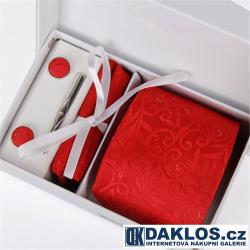 Luxusní set červená se vzorem - Kravata, kapesníček do saka, manžetové knoflíčky, kravatová spona v dárkovém balení