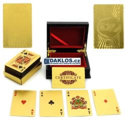 Zlaté karty - pozlacené 24K zlatem - Poker / Žolíky / Kanasta / s USA / EUR motivem