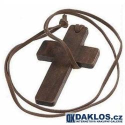Náhrdelník / řetízek s přívěskem křížku / dřevěný křížek