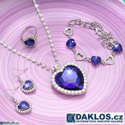 Set náhrdelníku, náušnic, náramku a prstenu na motivy filmu TITANIC s modrým krystalem ve tvaru srdce