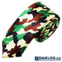 Luxusní úzká kravata maskáčová - vojenská