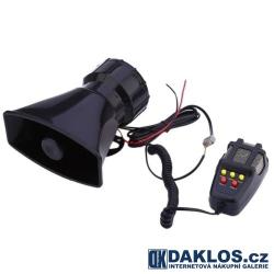 Výstražná siréna s 5 různými režimy zvuků a mikrofonem 300 dB 100W