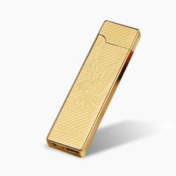 Kovový větruodolný cigaretový nabíjecí elektronický zapalovač - zlatý