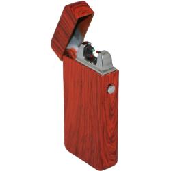 Kovový větruodolný PLAZMOVÝ nabíjecí elektronický zapalovač - červené dřevo