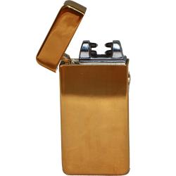 Kovový větruodolný PLAZMOVÝ nabíjecí elektronický zapalovač - zlatý