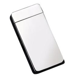 Kovový větruodolný PLAZMOVÝ nabíjecí elektronický zapalovač - stříbrný