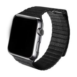 Kožený elegantní pásek na Apple Watch - černý