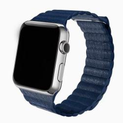 Kožený elegantní pásek na Apple Watch  - modrý