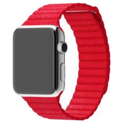 Kožený elegantní pásek na Apple Watch - červený