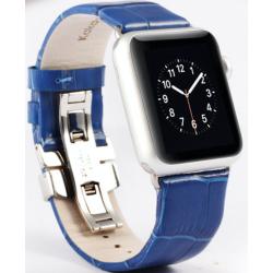 Řemínek z krokodýlí kůže na Apple Watch - Blue