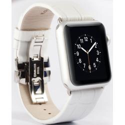 Řemínek z krokodýlí kůže na Apple Watch - Bílý