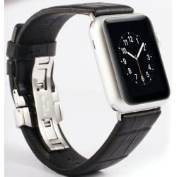 Řemínek z krokodýlí kůže na Apple Watch - Black