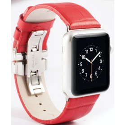 Řemínek z krokodýlí kůže na Apple Watch - Red