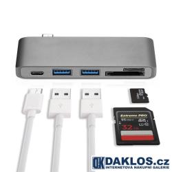 Redukce HUB pro MacBook USB-C USB 3.0 SD MicroSD