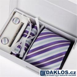 Luxusní set bílé a fialové proužky - Kravata, kapesníček do saka, manžetové knoflíčky, kravatová spona v dárkovém balení