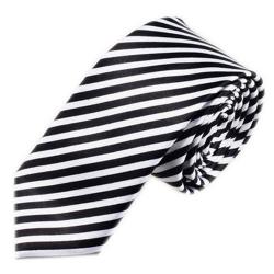 Luxusní úzká kravata bílo černá - úzké pruhy