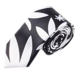 Luxusní úzká kravata černo bílá - vzor marihiuana
