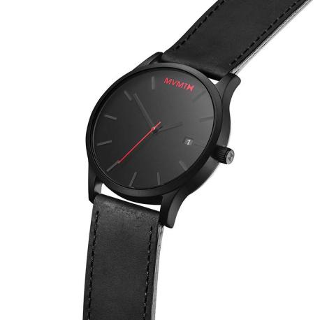 Luxusný pánske hodinky s kalendárom - čierne s červenými detailmi ... 18ee8aa4d7a