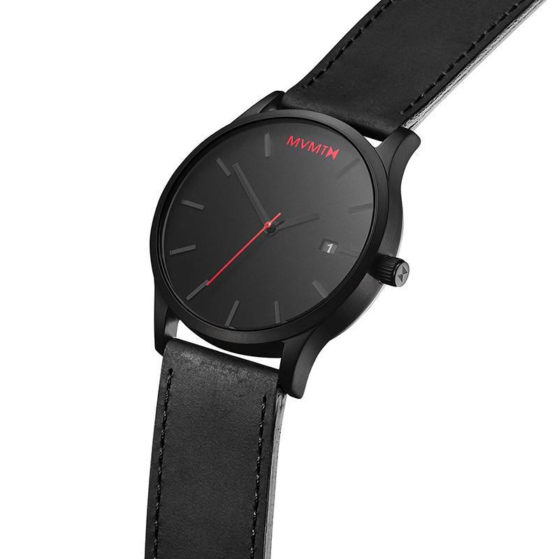 Luxusní pánské hodinky s kalendářem - černé s červenými detaily - černý pásek