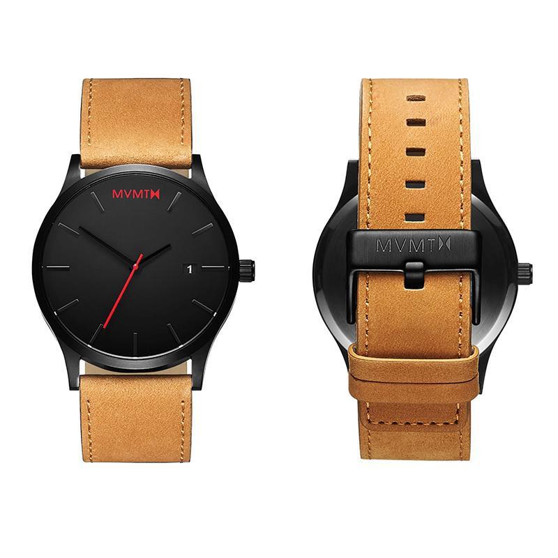 52047106915 ... Luxusní pánské hodinky s kalendářem - černé s červenými detaily - hnědý  pásek