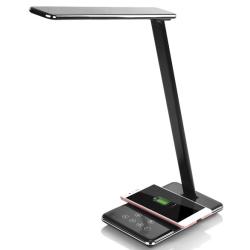 Stolní lampa s bezdrátovým nabíjením QI - černá