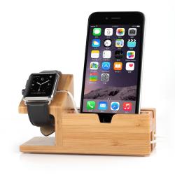 Dřevěný nabíjecí stojánek / držák na Apple Watch / iPhone + 3xUSB