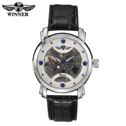 Luxusní bílé hodinky WINNER s průhledným strojkem s modrými detaily - automatické