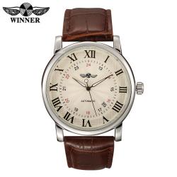Elegantní automatické hodinky WINNER s koženým páskem