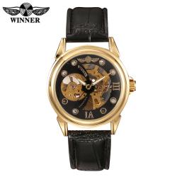 Luxusní automatické hodinky WINNER s koženým páskem