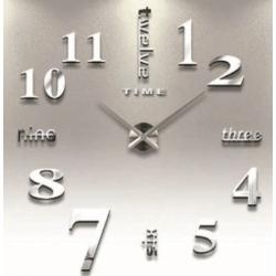 Nalepovací 3D nástěnné analogové hodiny - číslice a slova - stříbrné