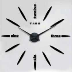 Nalepovací 3D nástěnné analogové hodiny - slova - černé