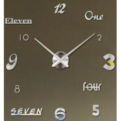 Nalepovací 3D nástěnné analogové hodiny - číslice a slova 2 - stříbrné