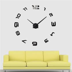 Nalepovací 3D nástěnné analogové hodiny - číslice dokola - černé